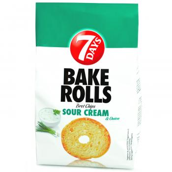 7Days Bake Rolls Sour Cream & Onion 250g Knusprige Brot-Chips