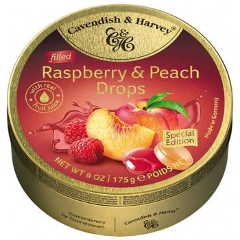 Cavendish & Harvey Filled Raspberry & Peach Drops 175g Limited Edition